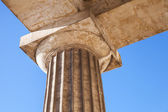 Classical Doric order fragment with upper part of column and capital — Stock Photo