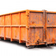Big metal orange trash container isolated on white — Stock Photo #42662095