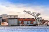 Big industrial floating crane on Neva river, St.Petersburg, Russia — Stock Photo