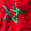 Waving National flag of Morocco. Green star on red background — Stock Photo