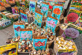 AMSTERDAM, NETHERLANDS - MARCH 19, 2014: Decorative flower bulbs with prices on the counter of big floating market in Amsterdam — Stock Photo