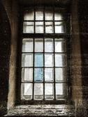 Vieille abandonnée fond grunge sombre verticale de la fenêtre — Photo
