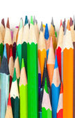 Set of colorful pencils. Vertical macro photo background on white background — Stock Photo