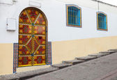 Colorful street fragment. Old Medina, historical part of Tangier — Stock Photo