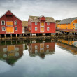 Red and yellow wooden houses in Norwegian fishing village. Rorvik, Norway — Stock Photo #44869865