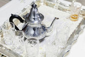 Moroccan tea theme. Metal teapot with glasses — Stock Photo