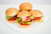 Big homemade hamburgers lay on white plate. Studio photo — Stock Photo