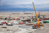 TANGIER, MOROCCO - MARCH 28, 2014: New terminals area under construction in Port Tanger-Med 2. The Tangier-Med Project will contain the biggest port in Africa — Stock Photo