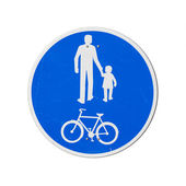 Bicycles And Pedestrians Only. Blue round road sign isolated on white — Stockfoto