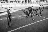 Bicycles stand on a parking place. Amsterdam, Netherlands — Stok fotoğraf