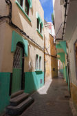 Colorful empty street fragment. Medina, old part of Tangier town — Stock Photo