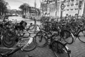 AMSTERDAM, NETHERLANDS - MARCH 19, 2014: Large group of bicycles stand on a parking place — Stock Photo