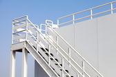 White stairway to the captain bridge on the big ship — Stock Photo