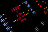 Fragment of illuminated ship control panel in the dark — Fotografia Stock