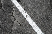Old asphalt road with white dividing line, background texture — Stock Photo