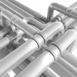 Modern industrial metal pipeline fragment. 3d render — Stock Photo