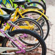 Colorful bicycles stand in row on a parking lot for rent — Stock Photo #47598447