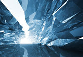 Abstract 3d background. Bent crystal corridor with rugged walls  — Stock Photo
