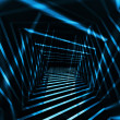 Abstract dark 3d interior background with blue night light beams — Stock Photo