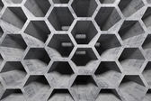 Abstract gray concrete interior with honeycomb structure — Stok fotoğraf