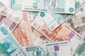 Russian money background. Rubles banknotes closeup texture — Stock Photo