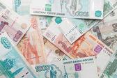 Fondo de dinero ruso. textura rublos billetes closeup — Foto de Stock