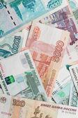 Fondo de dinero ruso. textura rublos billetes closeup foto — Foto de Stock