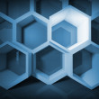 Abstract blue honeycomb structure background with light — Stock Photo #48260763