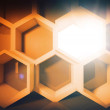 Abstract yellow honeycomb structure background with light — Stock Photo