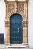 Ancient blue door with decoration. Tangier, Morocco — Stock Photo