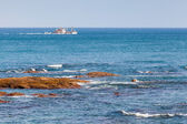 Fishing boat goes on Atlantic Ocean. Tangier, Morocco — Stock Photo