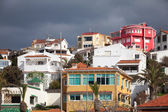 Street view with traditional colorful living houses. Tangier, Morocco — Stock Photo