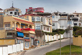 Street view with traditional colorful houses. Tangier, Morocco — Stock Photo