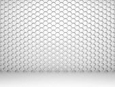 White abstract 3d interior with honeycomb pattern on the wall — Stock Photo
