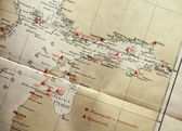 Ancient yellow Russian navigational map fragment with red labels — Stock Photo