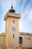 Yellow lighthouse tower in Cap Malabata. Tangier, Morocco — Stock Photo