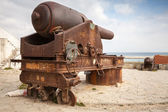 Old big rusted coastal cannon in Medina of Tangier, Morocco — Stock Photo