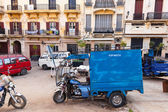 TANGIER, MOROCCO - MARCH 22, 2014: old blue tricycle cargo bike  — Stock Photo