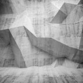 Abstract concrete 3d interior with polygonal pattern on the wall — Stock Photo