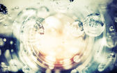 Abstract blue photo background with bubbles in glass sphere — Stock Photo