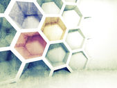 Abstract colorful 3d interior with honeycomb on the wall — Stock Photo