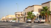 RAHIMA, SAUDI ARABIA - MAY 14, 2014: Street view with parked cars, Saudi Arabia — Stock Photo