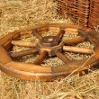 Old cart wheel - Stock Photo