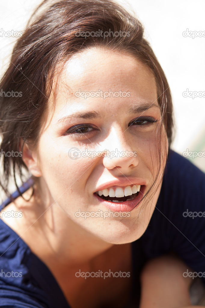 Closeup portrait of a cute young woman — Stock Photo #12837694