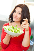 Beautiful woman and vegetables — Stock Photo