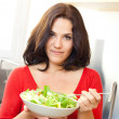 Cheerful woman and vegetables — Stock Photo