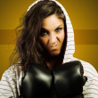 Angry female boxing — Stock Photo