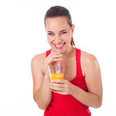 Laughing and orange juice — Stock Photo