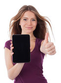 Woman, touchpad and success — Stock Photo