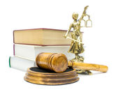 Gavel on white background close-up — Foto Stock